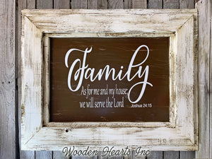FAMILY Wall Sign As for me and my house we will serve the Lord Decor Framed Wood Inspirational - Wooden Hearts Inc