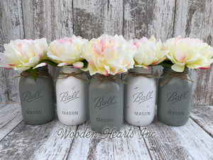 Mason Jar WEDDING DECOR Table Ball QUART Centerpiece Bridal Baby Shower *Peony Flower Optional - Wooden Hearts Inc