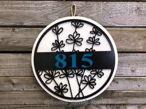 "HOUSE NUMBER Sign Wood Wall Mount 12""  3D Custom Street Address Home Plaque Round Outdoor - Wooden Hearts Inc"