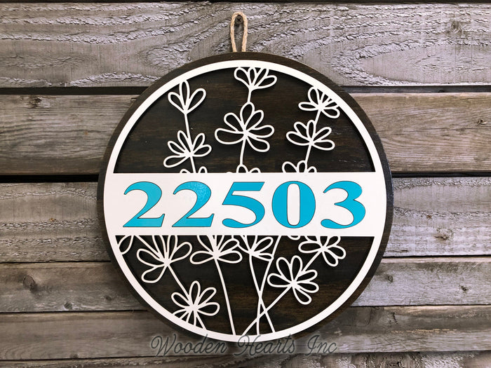 "HOUSE NUMBER Sign Wood Wall Mount 12""  3D Custom Street Address Home Plaque Round Outdoor"