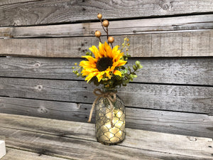 Centerpiece Wood Tray *You choose pieces! Tonic Bottle, Lemon Grass, Lights *Farmhouse Decor - Wooden Hearts Inc