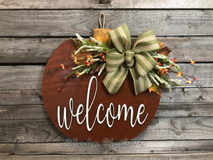 "FALL Door hanger PUMPKIN sign Wreath WELCOME or Blessed Sign Wood 16"" 3D  Bow Leaves - Wooden Hearts Inc"