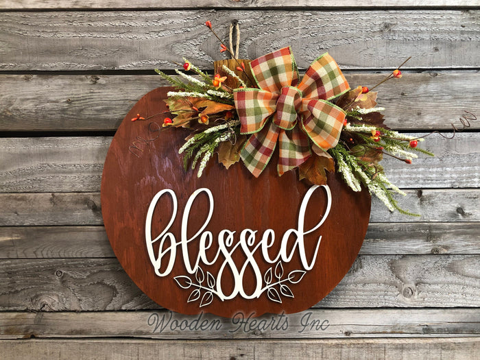 "FALL Door hanger PUMPKIN sign Wreath WELCOME or Blessed Sign Wood 16"" 3D  Bow Leaves"