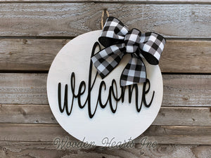 "SMALL MAGNETIC BOW for 12"" Round Welcome Sign *Interchangeable throughout the year! Accessory - Wooden Hearts Inc"
