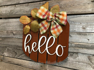 FALL Decor hanger Pallet PUMPKIN sign Wreath WELCOME or Hello Porch Wood 3D Bow Leaves - Wooden Hearts Inc