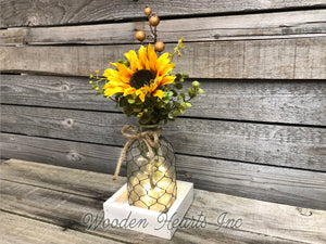 Centerpiece Wood Tray *You choose pieces! Tonic Bottle, Sunflower, Lights *Farmhouse Decor - Wooden Hearts Inc