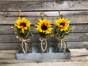 Sunflower Centerpiece Metal Tray *Custom *You choose! Optional Tonic Bottles, Lights *Jar Set - Wooden Hearts Inc