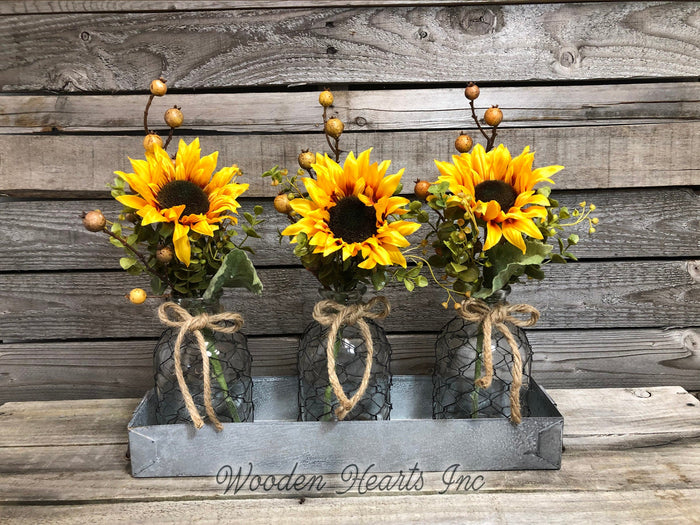 Sunflower Centerpiece Metal Tray *Custom *You choose! Optional Tonic Bottles, Lights *Jar Set