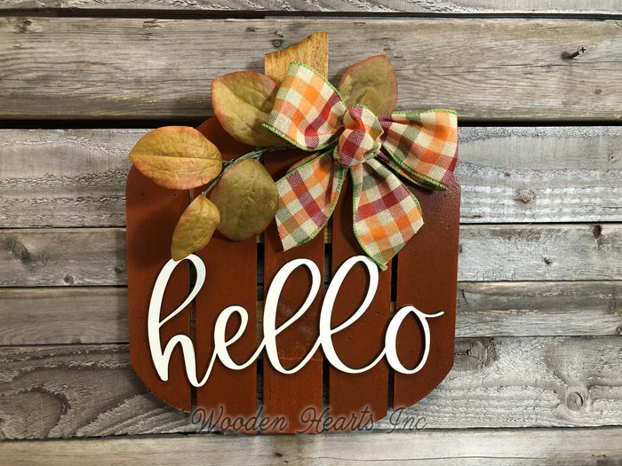 FALL Decor hanger Pallet PUMPKIN sign Wreath WELCOME or Hello Porch Wood 3D Bow Leaves