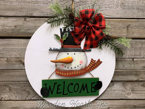"Snowman Welcome Christmas Holiday Door hanger Wreath Wood Sign, Believe, 16"" 3D Wood Lettering - Wooden Hearts Inc"