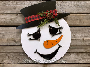 "Snowman Christmas Holiday Door hanger Wreath Wood Sign Greenery, Top Hat, Girl Bow 14"" 3D - Wooden Hearts Inc"