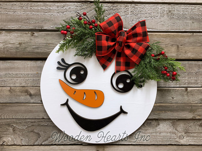 "Snowman Christmas Holiday Door hanger Wreath Wood Sign Greenery, Top Hat, Girl Bow 14"" 3D"