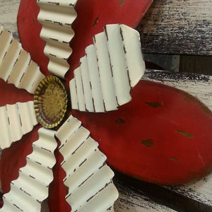 Wall art SHUTTER Metal FLOWER Home Decor Red Yellow Tray Sign White Wood Tin Summer - Wooden Hearts Inc