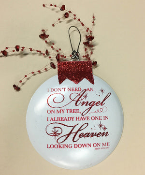 Christmas ORNAMENT ANGEL Someone we love is in Heaven our home In Memory of Bereavement Gift - Wooden Hearts Inc
