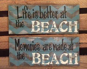 Life is better at the BEACH Sign Decor Wall Memories are made Wood Ocean Lake House Flip Flops - Wooden Hearts Inc