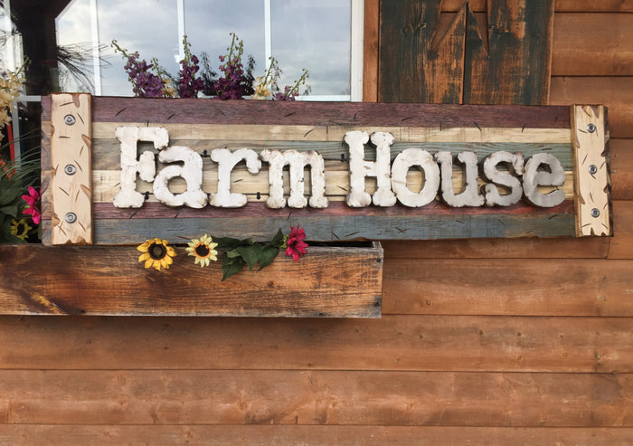 FARM HOUSE Farmhouse Decor Wall Sign Rustic Shutter Distressed Industrial Blue Green Red