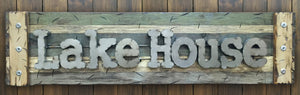 LAKE HOUSE Rustic Sign Reclaimed Shutter Industrial Metal Large Wall Cabin Gift Home Decor - Wooden Hearts Inc