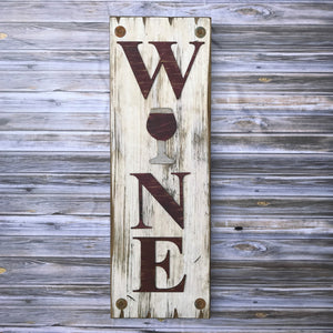 WINE Sign Vertical, Winery Home Decor, Rustic Distressed Wood *ANTIQUE WHITE, RED Letters - Wooden Hearts Inc