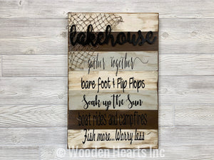 LAKE HOUSE BROWN COMBO decor SIGN *Boat Campfires Fish Net Lakehouse *Wood 16X24 - Wooden Hearts Inc