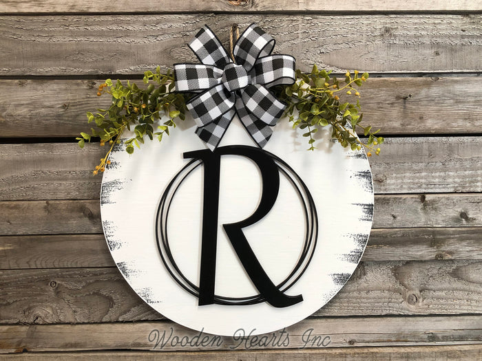 "Monogram 16"" Round Letter Sign, Custom, Personalize Name, Door Sign"