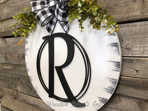 "Monogram 16"" Round Letter Sign, Custom, Personalize Name, Door Sign - Wooden Hearts Inc"