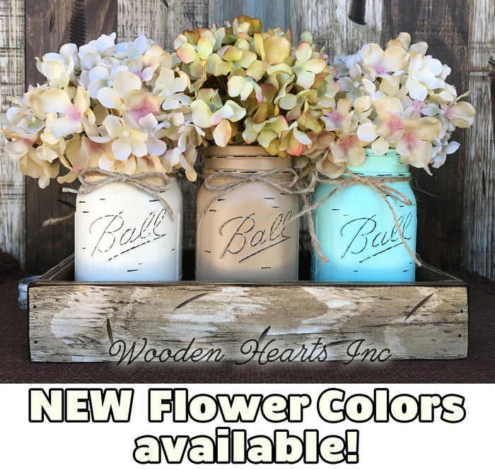 MASON Jar Decor Table Centerpiece Wood TRAY + 3 Ball Pint Jars Distressed (Flowers optional)