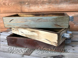 Wood TRAY ONLY Medium Quart Size (Fits 3 Quart Jars) Create a MASON Jar Centerpiece - Wooden Hearts Inc