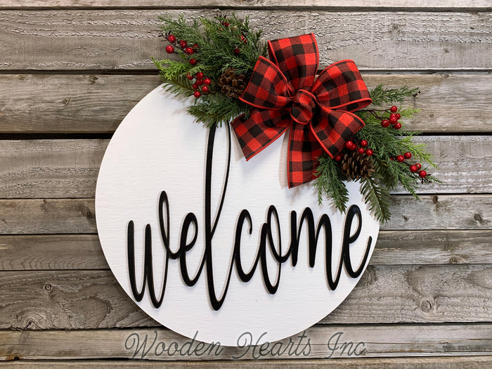"Welcome Christmas Door Hanger Wreath with Pine Berries Greenery and Bow 16"" Round Sign"