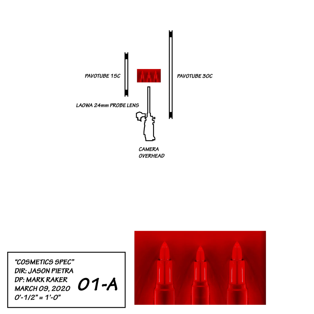 A lighting diagram of a cosmetics commercial video shoot