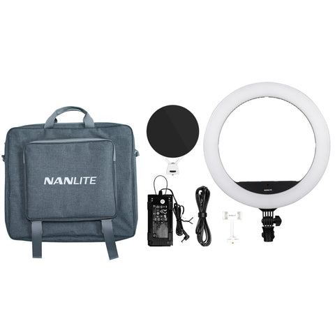 Nanlite Halo 16C Bicolor and Tunable RGB 16in LED Ring Light with USB Power Passthrough and Smart Touch Control