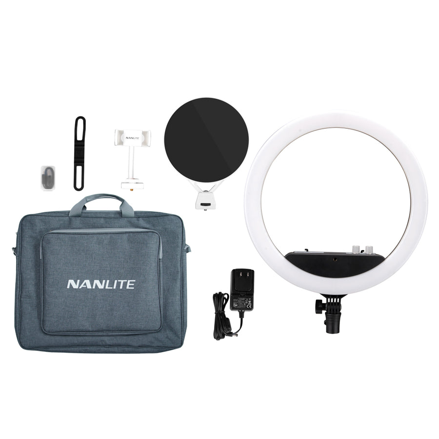 Nanlite Halo 14U Dimmable Adjustable Bicolor 14in LED Ring Light With Built-In Li-Ion Battery