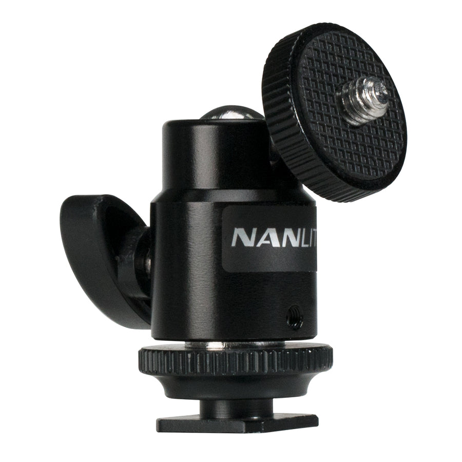 Nanlite Mini Ball Head with Hot Shoe Adapter and 1/4''-20 Mount