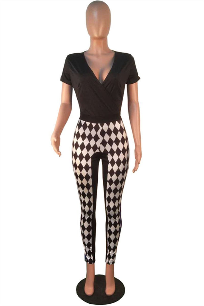 Argyle Print V Neck Patchwork Jumpsuit