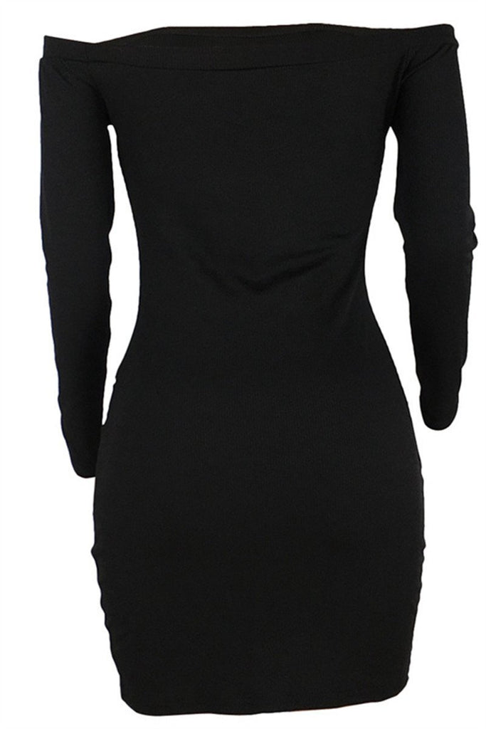 Boat Neck Long Sleeve Asymmetric Hem Mini Dress