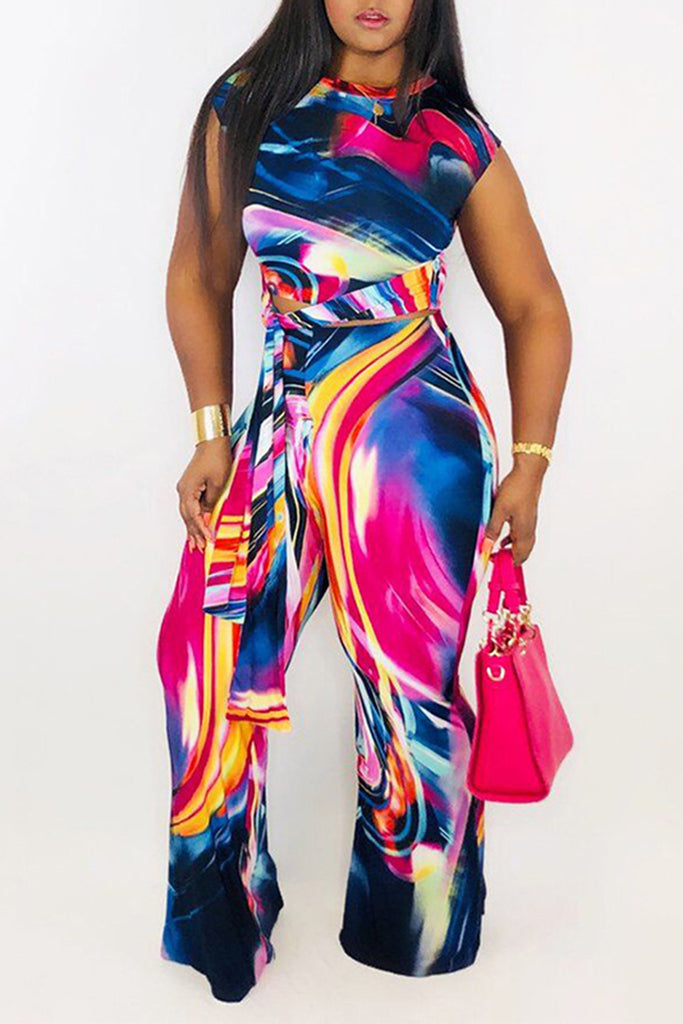 Belted Digital Print Two Piece Sets