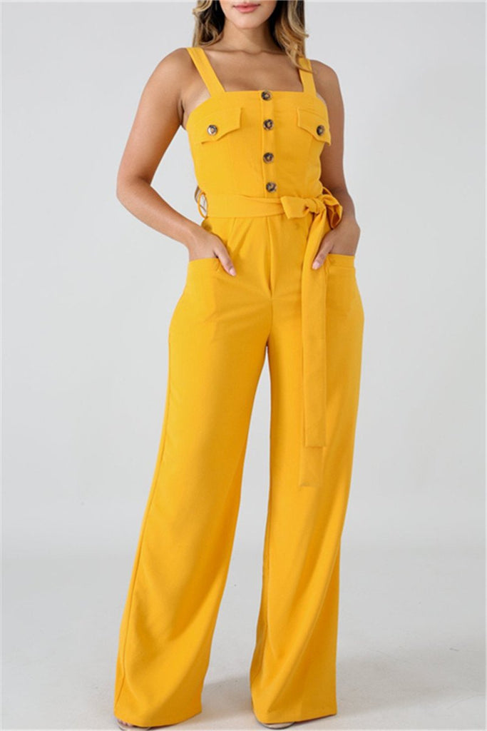 Spaghetti Straps Solid Color Belted Jumpsuit