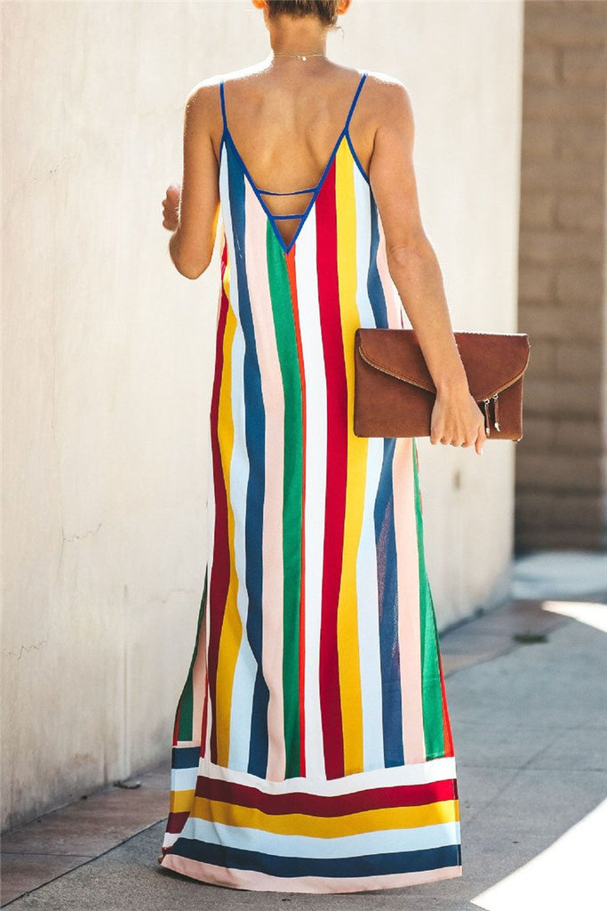 Spaghetti Straps Side Slit Striped Maxi Dress