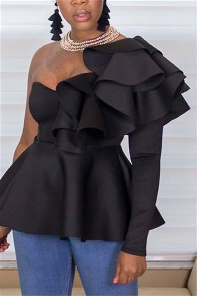 One Sleeve Ruffled Peplum Waist Blouse