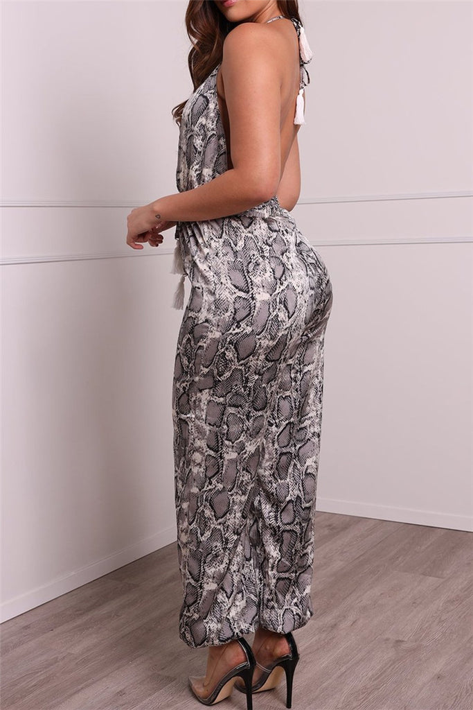 Snake Print Open Back V Neck Sleeveless Jumpsuit