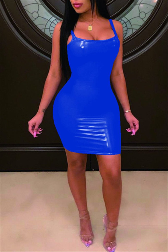 Spaghetti Straps Solid Color PU Mini Dress