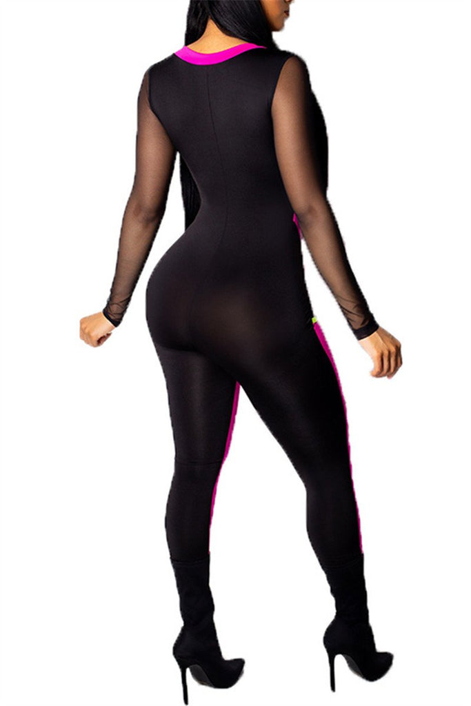 Zip Up Long Sleeve Mesh Panel Sexy Jumpsuit