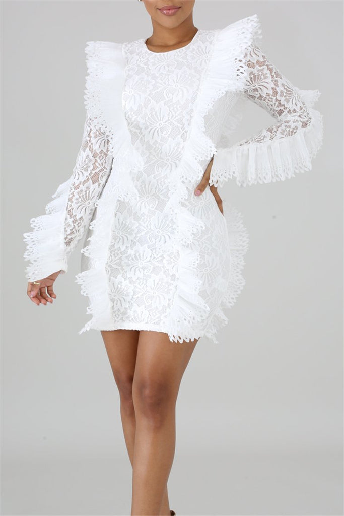Ruffle Long Sleeve Lace Mini Dress