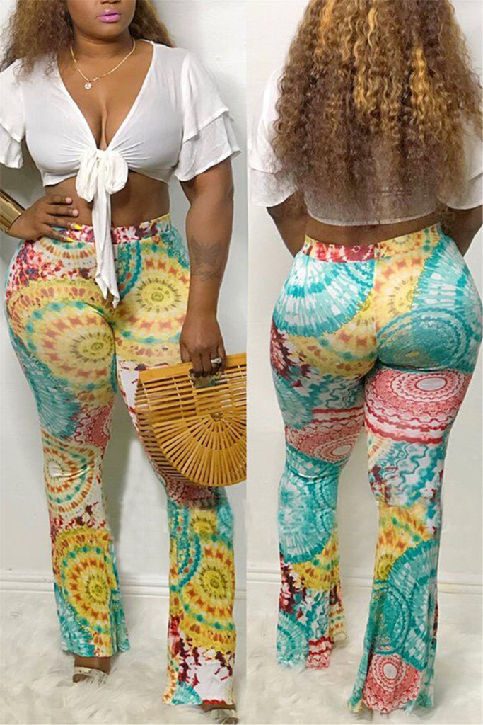 Tribal Print High Waist Flare Pants