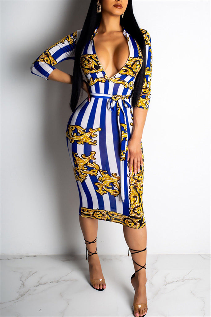 Zip Up Printed Midi Dress With Belt