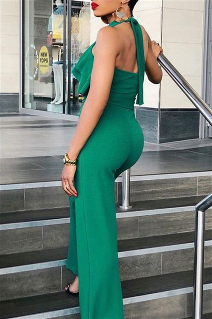 Open Back Solid Color Ruffled Jumpsuit