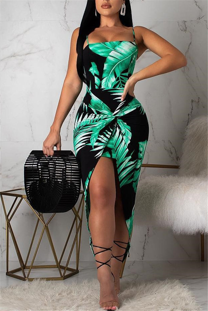 Spaghetti Straps Printed Asymmetric Dress