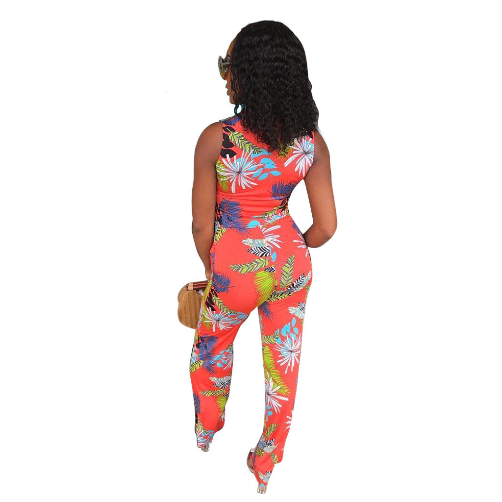 Button Up Printed Sleeveless Casual Jumpsuit