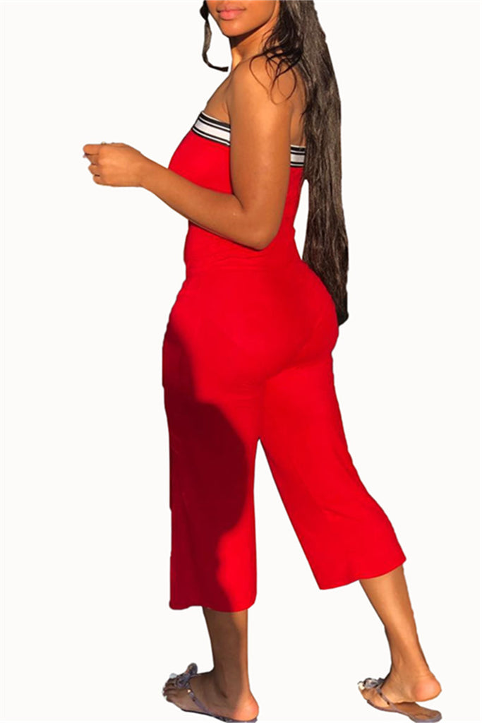 Open Back Letter Print Strapless Jumpsuit