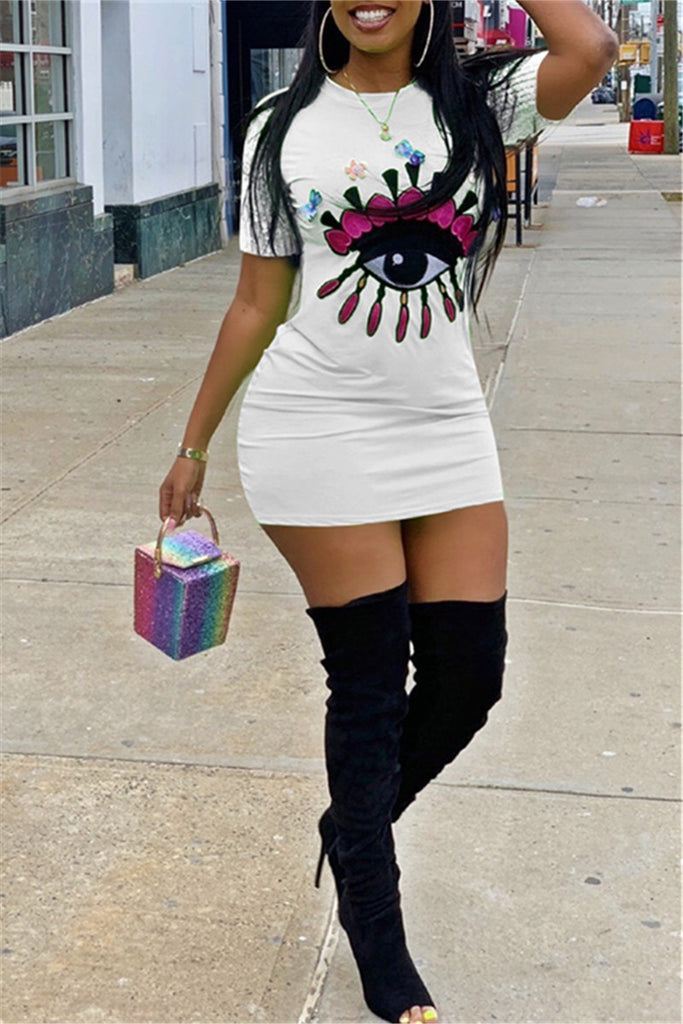 Eye Embroidered Short Sleeve T Shirt Dress