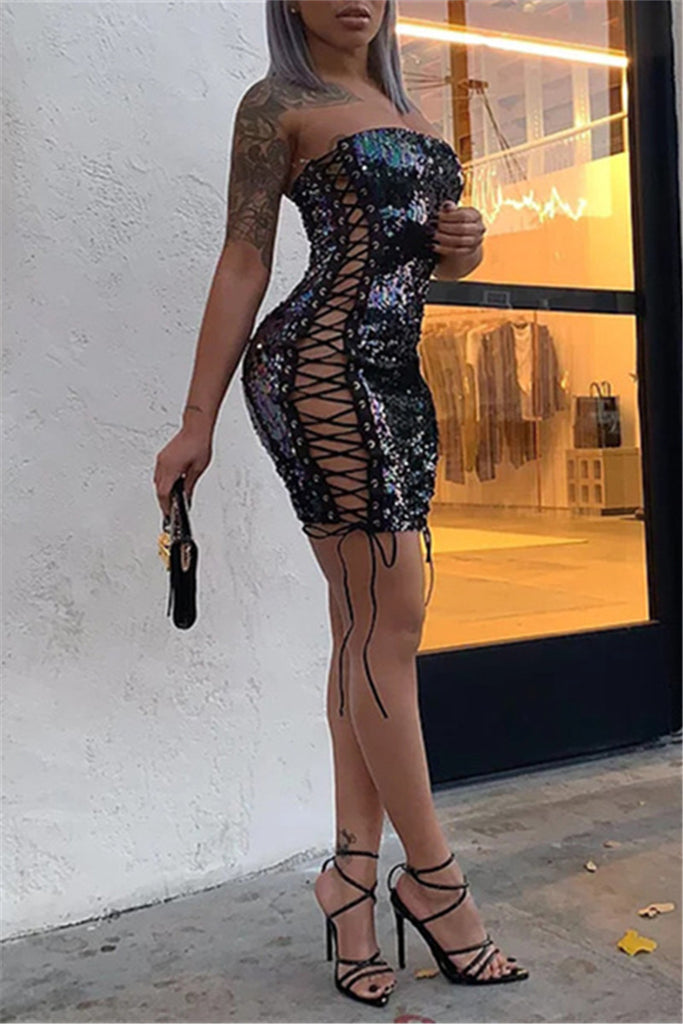 Lace Up Strapless Sequined Sexy Mini Dress